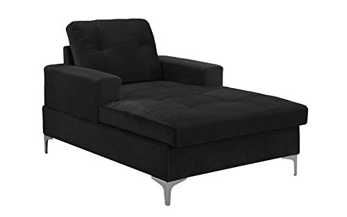 Divano Roma MidCentury Upholstered Chaise Lounge 54.7″ inches (Black)