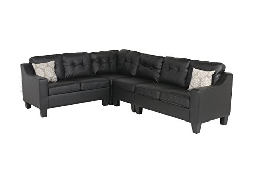 Oliver and Smith Fur_s295blackleather_Prime Sectional Sofa Black