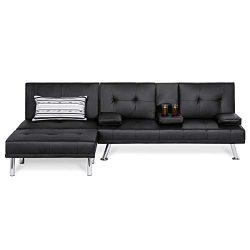 Best Choice Products 3-Piece Modular Modern Furniture Set w/Convertible Double Futon, Single-Sea ...