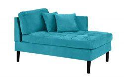 Mid Century Modern Tufted Velvet Chaise Lounge (Blue)