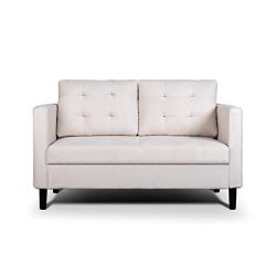 AODAILIHB Modern Soft Cloth Tufted Cushion Loveseat Sofa Small Space Configurable Couch (Almond  ...