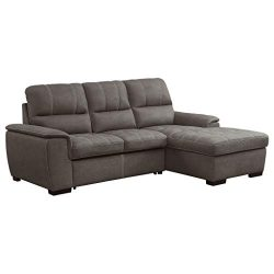 Homelegance Andes 98″ Convertible Sectional Sofa with Storage, Taupe