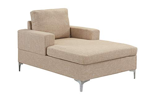 Casa Andrea Milano Modern Chaise Lounge, Mid Century Linen Fabric Chaise (Beige)
