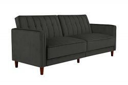 DHP Ivana Vintage Tufted Upholestered Futon Sofa Bed, Grey Velvet