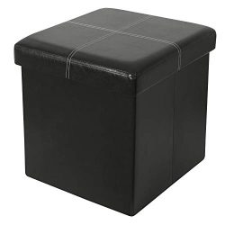 ITIDY Ottoman- Folding Storage Ottoman Cube Bench,Foot Rest Stool,Puppy Step,Storage Chest,Faux  ...