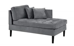 Mid Century Modern Tufted Velvet Chaise Lounge (Grey)