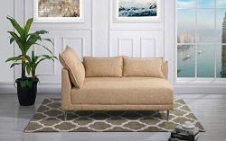 Upholstered 55.9″ inch Modern Living Room Linen Chaise Lounge (Beige)