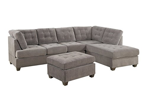 2 Piece Modern Grey Soft Micro Suede Sectional Sofa With