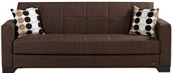 BEYAN SB 2019 Brown Vermont Modern Chenille Fabric Upholstered Convertible Sofa Bed with Storage ...