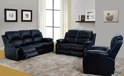 3-Piece Odessa Dual Reclining Sofa Set Living Room Couch, Black