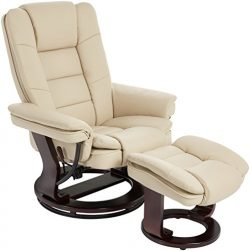 JC Home Argus Ultra-Plush Bonded Leather Swiveling Recliner with Mahogany Wood Base and Matching ...