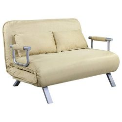 HOMCOM Full Size Folding 5 Position Steel Convertible Sleeper Bed Chair -Beige
