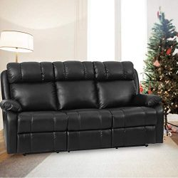 FDW Recliner Sofa Living Room Set Leather Sofa Recliner Couch Manual Reclining Sofa and Sofa (3  ...