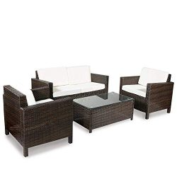Merax 4-Piece Rattan Sectional Sofa Couch Loveseat Chairs Indoor/Outdoor Patio Furniture Sets Ra ...