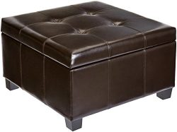 First Hill Damara Square-Shaped Large Faux-Leather Storage Ottoman – Bittersweet Chocolate