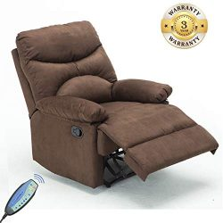 Windaze Recliner Chair, Massage Heat Lounge Sofa Chair Microfiber Ergonomic for Living Room Brown …