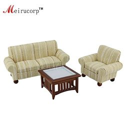 1/12 scale dollhouse miniature living room furniture Sofa Chair Tea table 3 pcs set