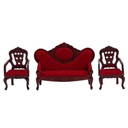 1:12 Miniature Furniture Living Room Sofa Chair Set Vintage Wooden Dollhouse Accessories Educati ...
