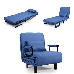 JAXPETY Blue Sofa Bed Folding Arm Chair 25.6″ Width Convertible Sleeper Recliner Lounge