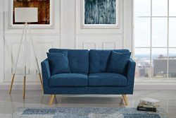 Upholstered Linen Fabric Loveseat Sofa, 57.4″ W inches (Dark Blue)