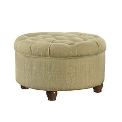 HomePop Button Tufted Round Storage Ottoman, Tan and Cream Tweed