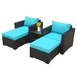 Outdoor Wicker Sofa Set-5 Pcs Patio Conversation Cushioned Seat Couch PE Rattan Furniture Set-Tu ...