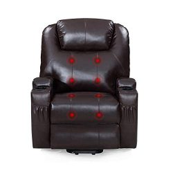 Windaze Power Lift Recliner Chair with Heat Massage, Living Room Bonded Leather Movable Sofa Cha ...