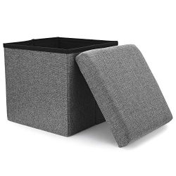 WoneNice Folding Storage Ottoman, Versatile Space-Saving Storage Toy Box with Memory Foam Seat,  ...