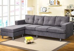 Modern Sectional Sofa Set with Chaise Lounge for Living Room L Shape Home Furniture 4 Seat(Grey)
