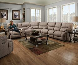Simmons Upholstery 50455BR-53 Palermo Shale Double Motion Sofa, Smoke