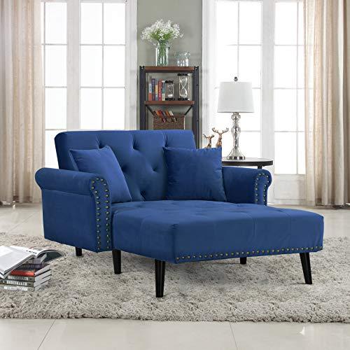 Divano Roma Modern Velvet Fabric Recliner Sleeper Chaise Lounge – Futon Sleeper Single Sea ...