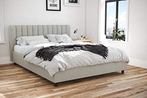 Novogratz 4190439N Brittany Upholstered Bed Queen Gray Linen