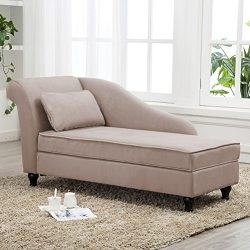 Tongli Chaise Lounge Sofa Chair Couch for Bedroom or Living Room (Tan 2)