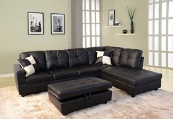 Beverly Fine Funiture CT91B Sectional Sofa Set 91B Black