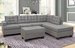 Merax. Sofa 3-Piece Sectional Sofa with Chaise Lounge and Storage Ottoman L Shape Couch Living R ...