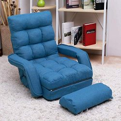 Adjustable Fabric Lazy Floor Sofa Chair Folding Chaise Lounge Single Couch Upholstered 5 Positio ...