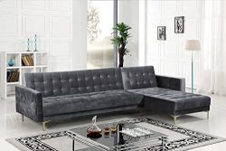 Iconic Home FSA9007-AN Amandal Convertible Sofa Sleeper Bed L Shape Chaise Tufted Velvet Upholst ...