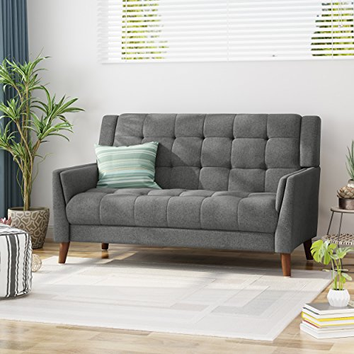 Evelyn Mid Century Modern Fabric Loveseat, Dark Gray