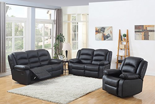 Classic and Traditional Black Real Grain Leather Recliner set – Sofa Double Recliner, Love ...