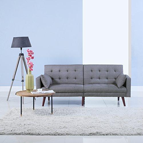 DIVANO ROMA FURNITURE Modern Tufted Linen Splitback Recliner Sleeper Futon Sofa (Light Grey)