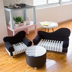 Kinbor Kids Sofa Chair Couch Upholstered Chair Children Living Room Toddler Furniture,Black (Kid ...