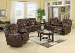 GTU Furniture Cobra Pu-Leather Reclining Sofa Loveseat Recliner Set, Luxurious Living Room Furni ...