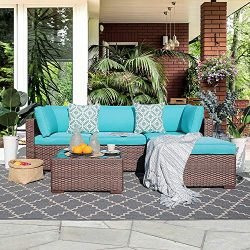 OC Orange-Casual 5 Piece Outdoor Furniture Sectional Sofa, Patio Brown PE Rattan Wicker Sofa wit ...
