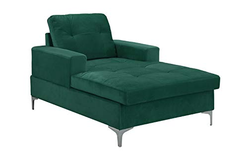 Divano Roma MidCentury Upholstered Chaise Lounge 54.7″ inches (Green)