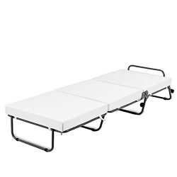 Giantex Folding Bed W/Mattress Metal Steel Pipe Frame Convertible Sofa Good Elasticity Padded Ma ...
