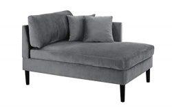 Mid Century Modern Plush Velvet Chaise Lounge (Grey)