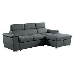 Homelegance 8228 Sleeper Sectional Sofa with Storage, Gray