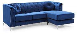 Glory Furniture Pompano G781B-SC Sofa Sectional, Navy Blue. Living Room Furniture, 31″ H x ...
