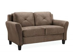 Lifestyle Solutions KD Rolled-Arm Collection Grayson Micro-Fabric Loveseat, 57.87″ x 32&#8 ...