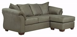 Ashley Furniture Signature Design – Darcy Contemporary Microfiber Sofa Chaise – Sage